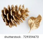 gold pinecone and gold leaf.... | Shutterstock . vector #729354673