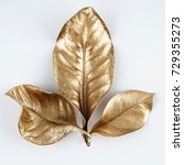 set of gold leaves. christmas... | Shutterstock . vector #729355273