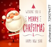 Santa Claus with big signboard. Merry Christmas calligraphy lettering design. Creative typography for holiday greeting. | Shutterstock vector #729379477
