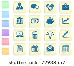 economy icons on post it note... | Shutterstock .eps vector #72938557