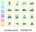 transportation icons on post it ... | Shutterstock .eps vector #72938578