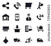 16 vector icon set   share ... | Shutterstock .eps vector #729402853