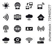 16 vector icon set   chip ... | Shutterstock .eps vector #729405277