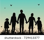 vector silhouette of children... | Shutterstock .eps vector #729413377