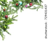 christmas tree branches with... | Shutterstock . vector #729431437