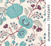 vector seamless nature pattern. ... | Shutterstock .eps vector #729433693
