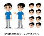 cartoon character  boy face ... | Shutterstock .eps vector #729456973
