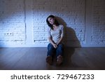 lonely young attractive... | Shutterstock . vector #729467233