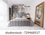 elegant  monochromatic bedroom...   Shutterstock . vector #729468517