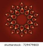 diwali greeting card showing... | Shutterstock . vector #729479803