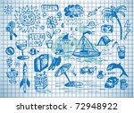 summer icons on the blue paper | Shutterstock .eps vector #72948922