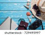 top view of traveler's...   Shutterstock . vector #729495997