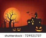 halloween background with... | Shutterstock .eps vector #729521737