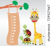 meter wall with funny animals... | Shutterstock .eps vector #729527467