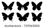 set of six butterfly icon... | Shutterstock .eps vector #729565003