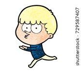 cartoon curious boy running   Shutterstock .eps vector #729587407