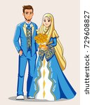 muslim wedding couple with blue ... | Shutterstock .eps vector #729608827