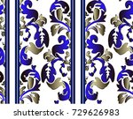 pattern with baroque scrolls... | Shutterstock .eps vector #729626983