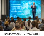 audience listens to the... | Shutterstock . vector #729629383