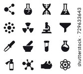 16 vector icon set   molecule ... | Shutterstock .eps vector #729633643