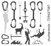 set of alpine climbing... | Shutterstock .eps vector #729637387