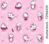 white kitten in flowers.... | Shutterstock .eps vector #72966424