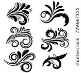 abstract black curly design... | Shutterstock .eps vector #729667123