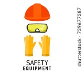 safety equipment items flat... | Shutterstock .eps vector #729677287