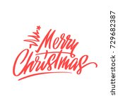 handdrawn merry christmas card... | Shutterstock .eps vector #729682387