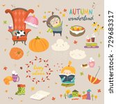 cartoon autumn set | Shutterstock .eps vector #729683317