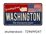 greetings from washington... | Shutterstock .eps vector #729699247