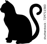 black silhouette of cat sitting ... | Shutterstock .eps vector #729711583