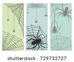 spider web silhouette arachnid... | Shutterstock .eps vector #729732727