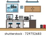 laboratory room with desk... | Shutterstock .eps vector #729752683