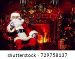santa claus in his house next... | Shutterstock . vector #729758137