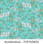 seamless vector floral pattern... | Shutterstock .eps vector #729765823