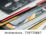 stack of multicolored credit... | Shutterstock . vector #729770887