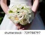 bride with wedding bouquet ... | Shutterstock . vector #729788797