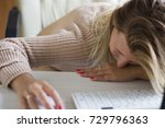 business woman trying to focus... | Shutterstock . vector #729796363