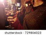 woman drinking wine  girl at... | Shutterstock . vector #729806023