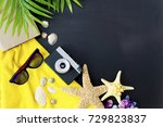 summer vacation things | Shutterstock . vector #729823837