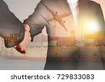 double exposure of handshake ... | Shutterstock . vector #729833083