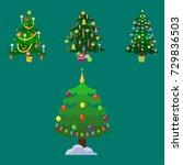 pine tree cartoon green vector... | Shutterstock .eps vector #729836503