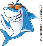Smiling  Shark Cartoon Mascot...