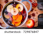 hot mulled wine drink with... | Shutterstock . vector #729876847