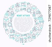 heart attack concept in circle... | Shutterstock .eps vector #729877087