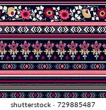 seamless floral ethnic pattern. ...   Shutterstock .eps vector #729885487