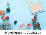creative flat lay of craft... | Shutterstock . vector #729886687