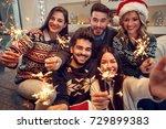 smiling friends celebrating...   Shutterstock . vector #729899383