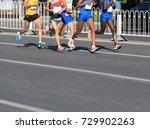 marathon runners running on... | Shutterstock . vector #729902263